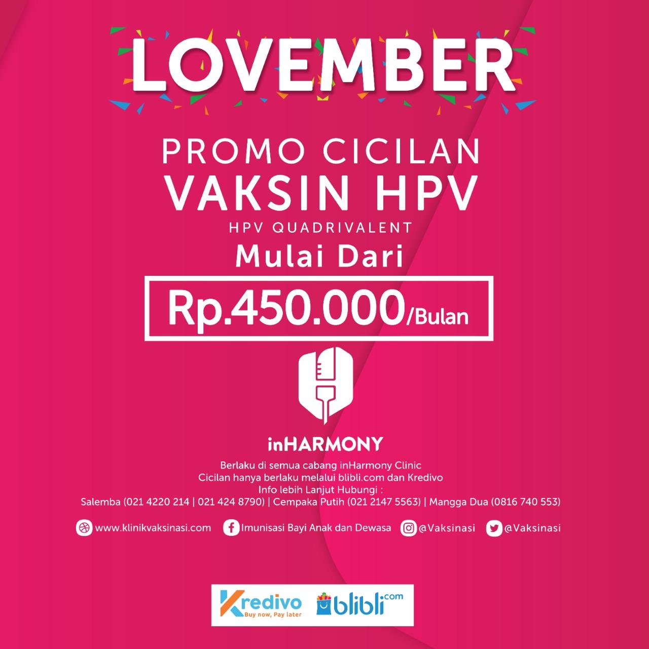 Promo Cicil Vaksin Kanker Serviks November 2019 – Lovember